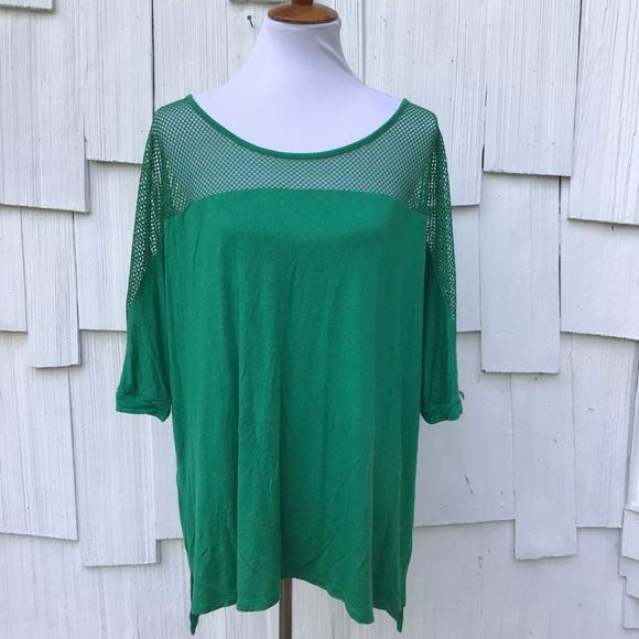 b51ba870c83 Lane Bryant Tops -  Lane Bryant  Green mesh shoulder shirt size 22 24